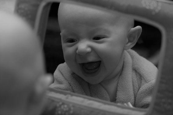 Baby in Mirror BW.jpg