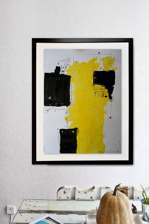 Abstract painting Black And Yellow# 207