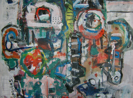 Abstract portrait on canvas  by contemporary artist Dimitris Pavlopoulos title Amigo#2