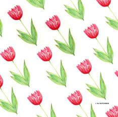 pattern design - red tulips
