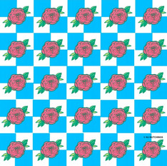 red blooms pattern