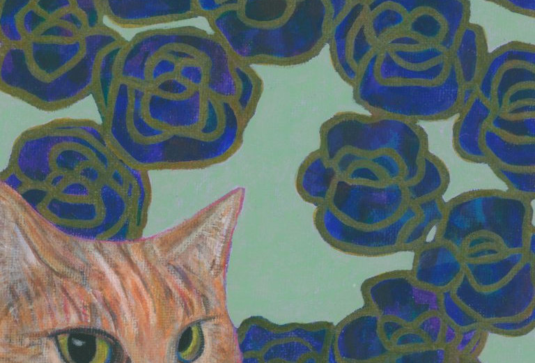 Cat and Blue Blooms