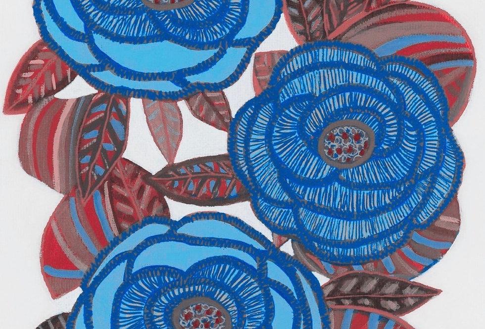 Three Blooms Blue