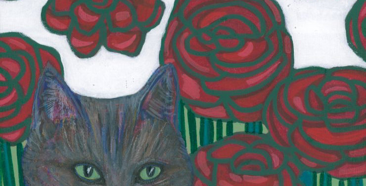 Cat and Red Roses