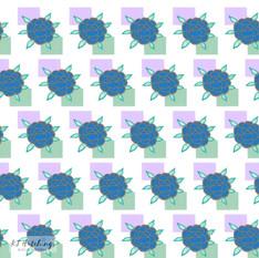 pattern design - blue rose and squares