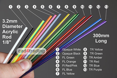 3.2mm Coloured Acrylic Rod approx 300mm