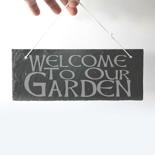 Welcome Slate Plaque 250 x 95mm approx