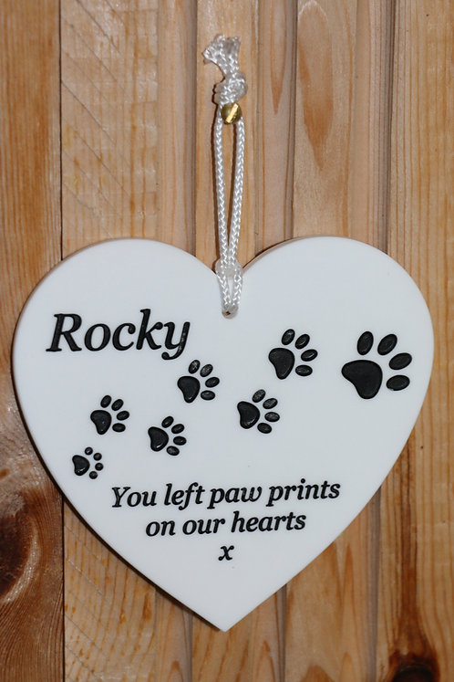 Acrylic Hanging Heart with Paw Prints