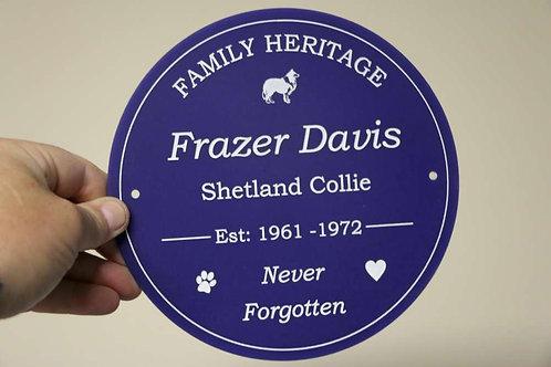 Blue Family Heritage Dog Plaque 195mm Diameter