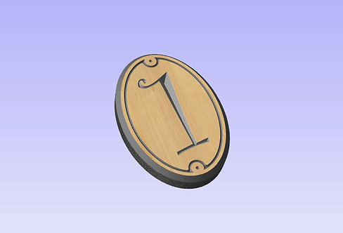 'N' Oval Wood Sign 190mm x 130mm 1 digit portrait