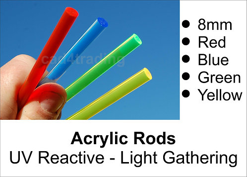 8mm Coloured Light Gathering Acrylic Rod approx 300mm