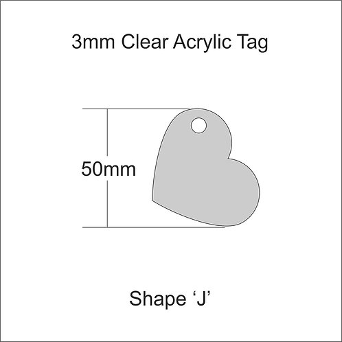 Clear Acrylic Gift Tag Shape 'J' 50mm