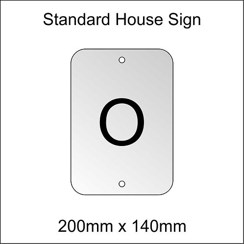 'O' House Sign Standard Size
