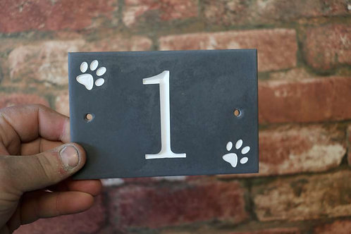 Slate Number Sign with paw prints 140mm x 95mm approx