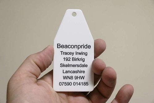 100mm Key Tag White Acrylic