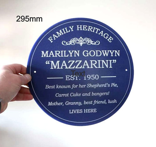 Family Heritage Plaque 295mm diameter