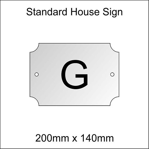 'G' House Sign Standard Size
