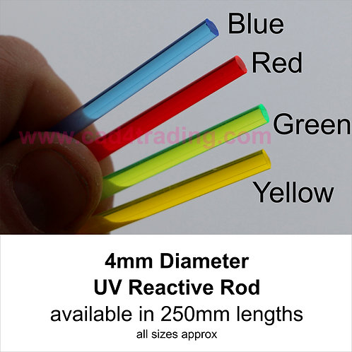 4mm Coloured Acrylic Rod approx 250mm