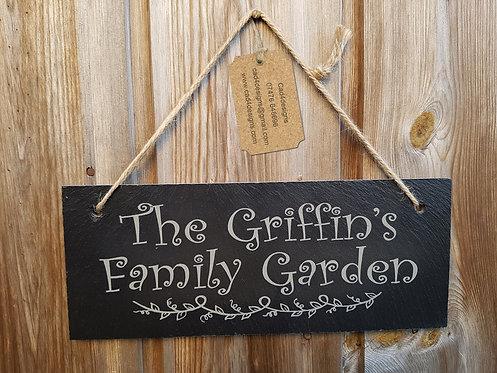 Family Garden Hanging Slate Sign
