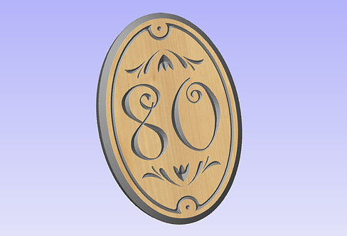 'N' Oval Wood Sign 190mm x 130mm 2 digit portrait