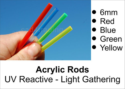 6mm Coloured Light Gathering Acrylic Rod approx 300mm