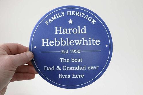 Family Heritage Plaque 195mm diameter