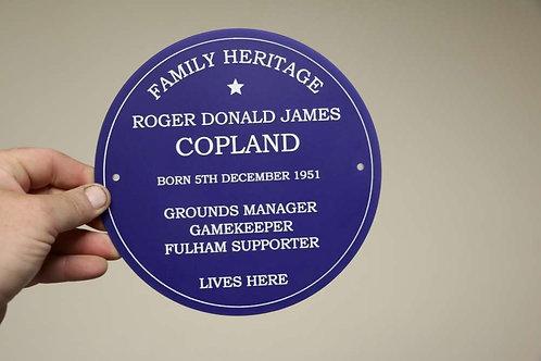Blue Family Heritage Plaque 195mm Diameter