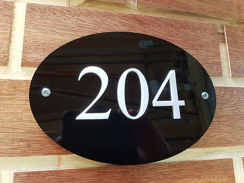 Oval House Sign Cut Acrylic Numbers