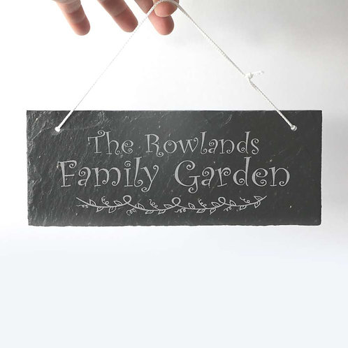 Family Garden Sign Slate Plaque 250 x 95mm approx