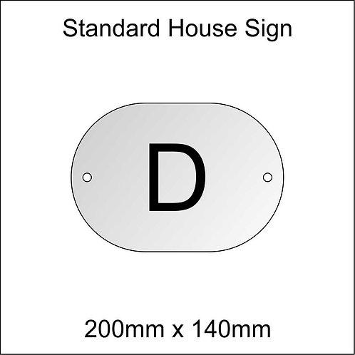 'D' House Sign Standard Size