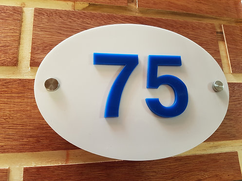 White Oval House Sign Cut Acrylic Numbers