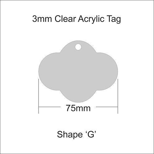 Clear Acrylic Gift Tag Shape 'G' 75mm