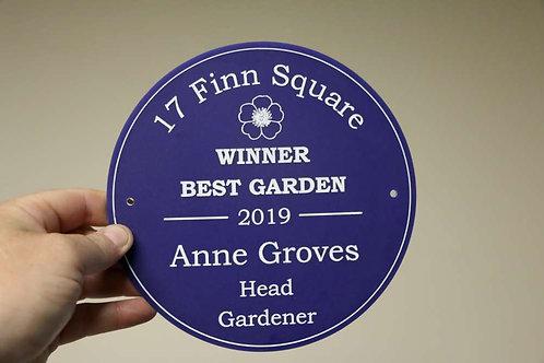 Blue Winner Best Garden Plaque 195mm Diameter