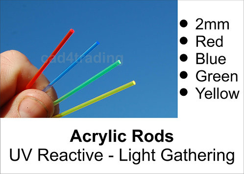 2mm Coloured Light Gathering Acrylic Rod approx 300mm