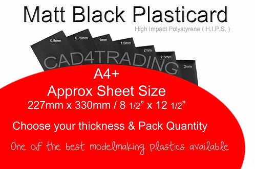 Mat Black Styrene Sheet Plasticard H.I.P.S. A4+