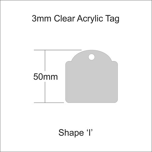 Clear Acrylic Gift Tag Shape 'I' 50mm