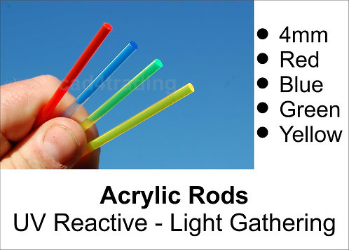 4mm Coloured Light Gathering Acrylic Rod approx 300mm