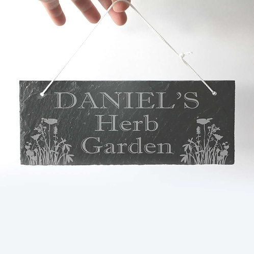 Herb Garden Sign Slate Plaque 250 x 95mm approx