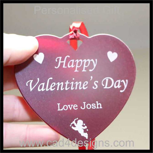Happy Valentines Day Heart 10cm Personalised