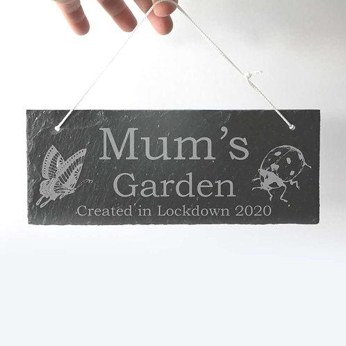 Mum's Garden Slate Plaque 250 x 95mm approx