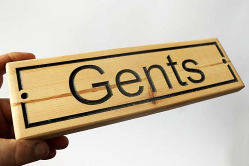Gents Wood Sign 300mm x 90mm