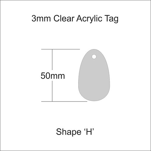 Clear Acrylic Gift Tag Shape 'H' 50mm