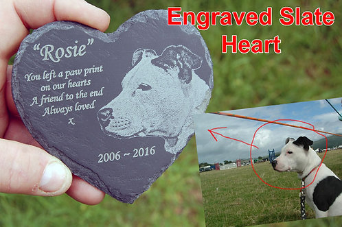Slate Heart with Laser Engraved Text & Image