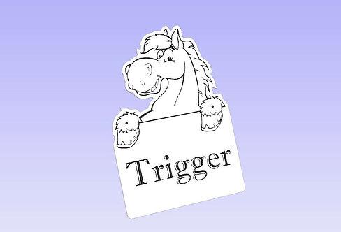 White Acrylic horse Name Sign