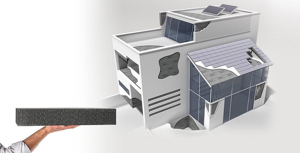 δείγμα σπιτιού με όλες τις πιθανές μονώσεις με Rthermo plus 30- 3σδιάστατη απεικόνιση διόρωφης κατοικίας