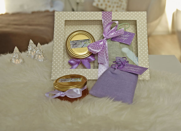 GIFT SET - LAVENDER THYME TEA IN LINEN BAG AND  LAVENDER HONEY