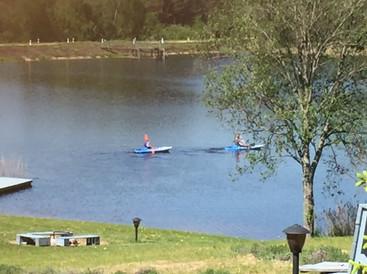 kayak and boat