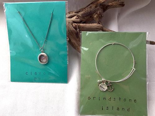 Clayton Necklace & Grindstone Island Silver Bracelet