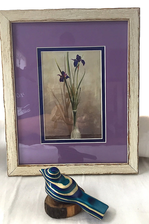 Siberian Iris Framed Card & Carved Bird