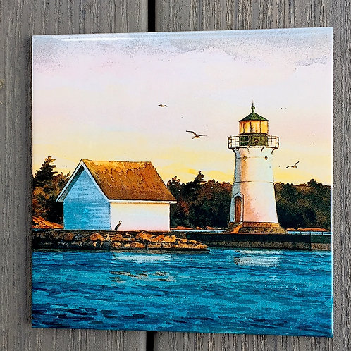 Sunken Rock Lighthouse Tile 8 X 8""